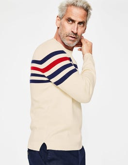 Ivory Multi Stripe Milano Crew Neck