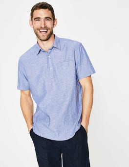 Blue Chambray Linen Cotton Popover