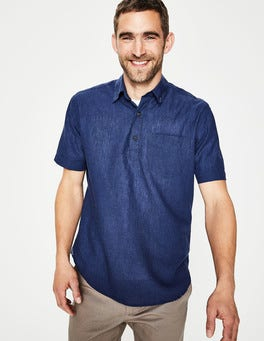 Deep Navy Linen Cotton Popover