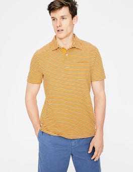 Yellow Ochre/Ivory Stripe Slub Polo