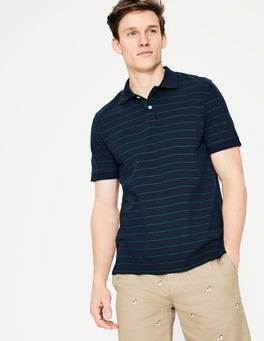 Navy Blue/Green Stripe Piqué Polo