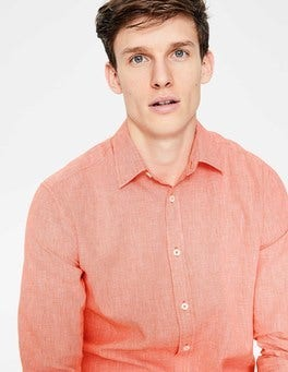 Baked Coral Puppytooth Linen Cotton Pattern Shirt