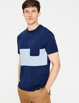 Navy Blue Wide Stripe Slub Stripe Crew