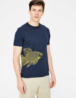 Fish Printed Slub Crew