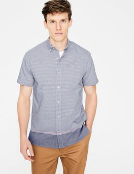 Blue Engineered Stripe Cotton Short Sleeve Shirt