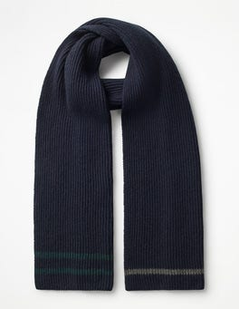 Navy Cashmere Knitted Scarf