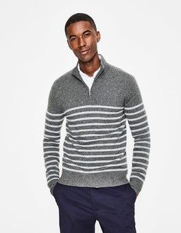 Grey Marl Stripe Cashmere Half-Zip