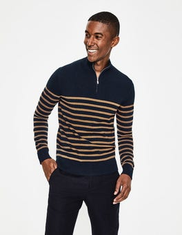 Navy/Golden Wheat Stripe Cashmere Half-Zip