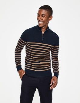 Navy/Golden Wheat Stripe Cashmere Half-Zip