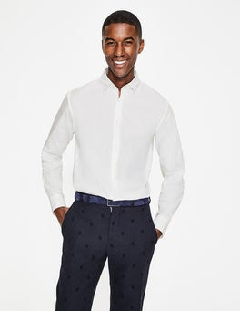 White Clip-Dot Spot Cutaway Collar Shirt
