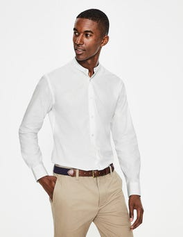 White Self- Stripe Grandad Collar Shirt