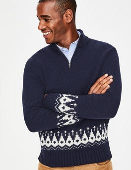 Navy Fair Isle Fair Isle Half-Zip