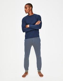 Navy Blue/Ecru Stripe Jersey Lounge Trousers