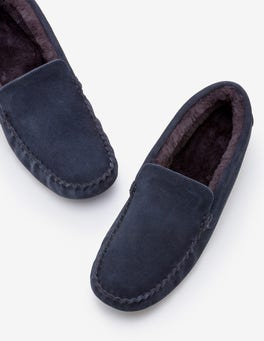 Navy Moccasin Slippers