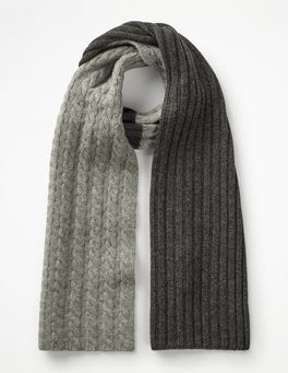 Grey Marl Cable Cable Scarf