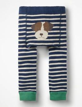 Beacon Blue/Ecru Knitted Leggings