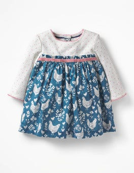 Azure Blue Farmyard Toile Pointelle Twirl Dress