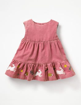 Autumn Rose Pink Embroidery Tiered Corduroy Dress
