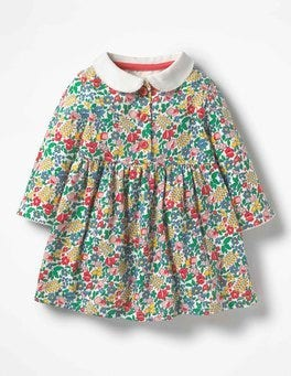 Multi Flowerbed Pretty Collared Jersey Dress