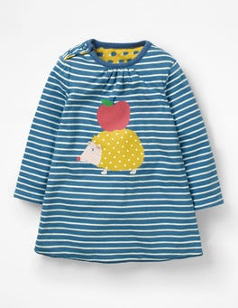 Azure Blue/Ecru Hedgehog Reversible Creature Dress