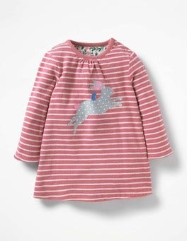 Autumn Rose Pink/Ecru Bunny Reversible Creature Dress