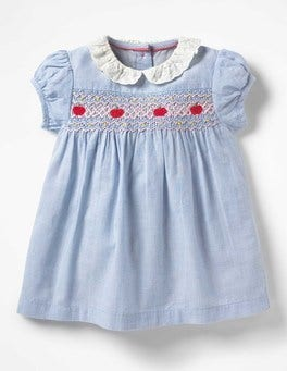 Chambray Blue Pretty Collared Smock Dress