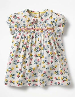 Multi Blossom Pretty Collared Smock Dress