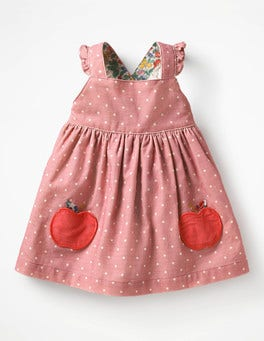 Almond Blossom Pink Apples Woven Applique Pinafore