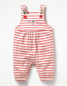 Ecru/Coral Sunset Pink Fun Jersey Overalls