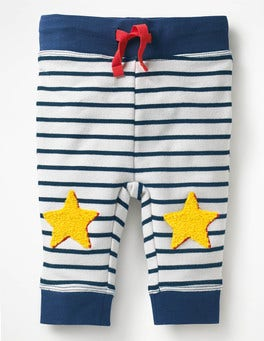 Ecru/Beacon Blue Stars Novelty Knee Patch Trousers