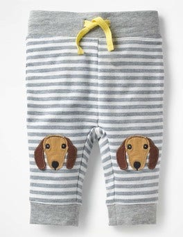 Grey Marl/Ecru Dog Novelty Knee Patch Trousers