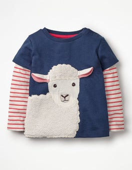 Beacon Blue Sheep Layered Animal Friends T-shirt