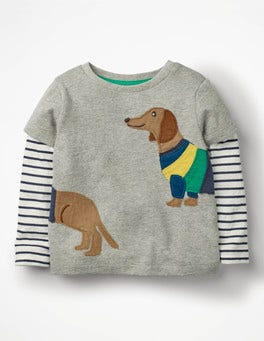 Grey Marl Sausage Dog Layered Animal Friends T-shirt