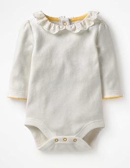 Ivory Broderie Pretty Collared Bodysuit