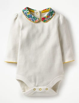 Ivory/Multi Flowerbed Pretty Collared Bodysuit