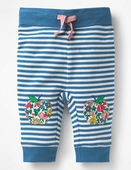 Azure Blue/Ecru Apples Novelty Appliqué Leggings