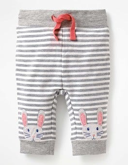 Grey Marl/Ecru Bunnies Novelty Appliqué Leggings