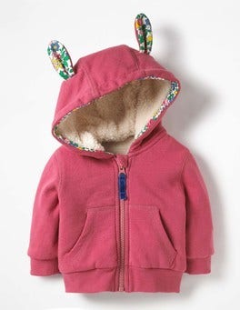 Rose Blossom Pink Shaggy Lined Bunny-Hop Hoodie