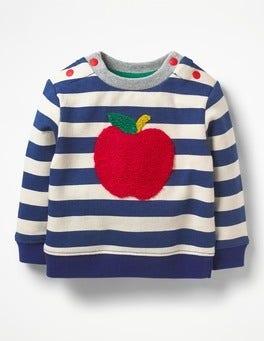 Ecru/Beacon Blue Apple Cosy Textured Sweatshirt