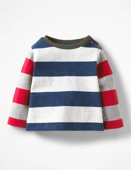 Denim Marl/Ecru Stripy Hotchpotch T-shirt