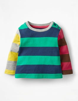 Wild Green/Beacon Blue Stripy Hotchpotch T-shirt