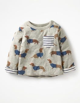 Grey Marl Sausage Dogs Fun Reversible T-shirt