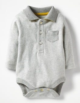 Grey Marl/Ecru Collared Polo Bodysuit