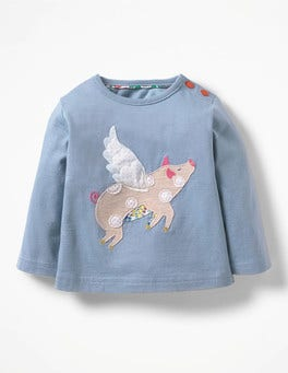Chambray Blue Flying Pig Farmyard Appliqué T-shirt