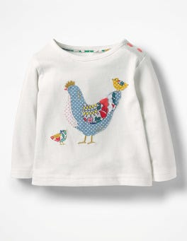 Ecru Chicken Farmyard Appliqué T-shirt
