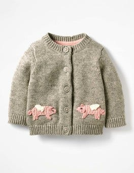 Grey Marl Flying Pigs Characterful Crochet Cardigan