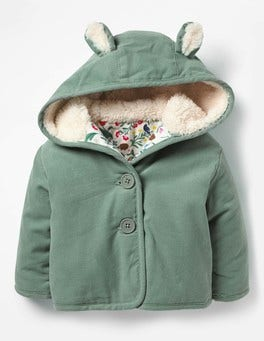 Pixie Green Woodland Animals Cord Jacket