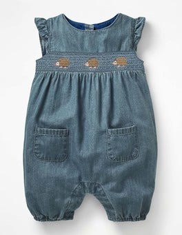 Chambray Blue Hedgehogs Hedgehog Friends Romper