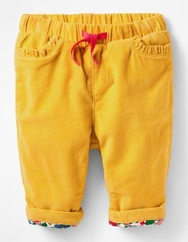 Honeycomb Yellow Mouse Appliqué Pocket Cord Trousers