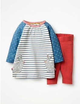 Ecru/Azure Blue Bunnies Appliqué Friends Dress Set